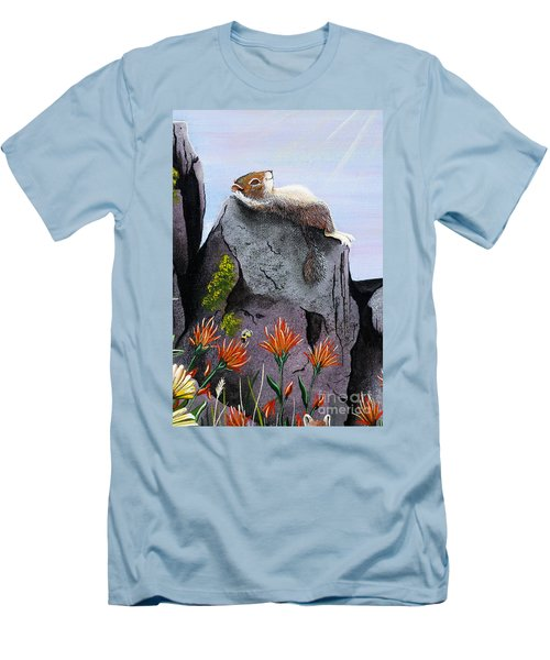 Men's T-Shirt (Slim Fit) featuring the painting Ms. Elizabeth Taking In The Rays by Jennifer Lake