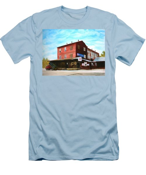 Men's T-Shirt (Slim Fit) featuring the painting Mt. Pleasant Milling Company by Stacy C Bottoms