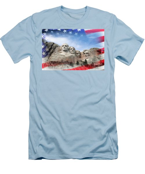 Mt Rushmore Flag Frame Men's T-Shirt (Slim Fit) by David Lawson