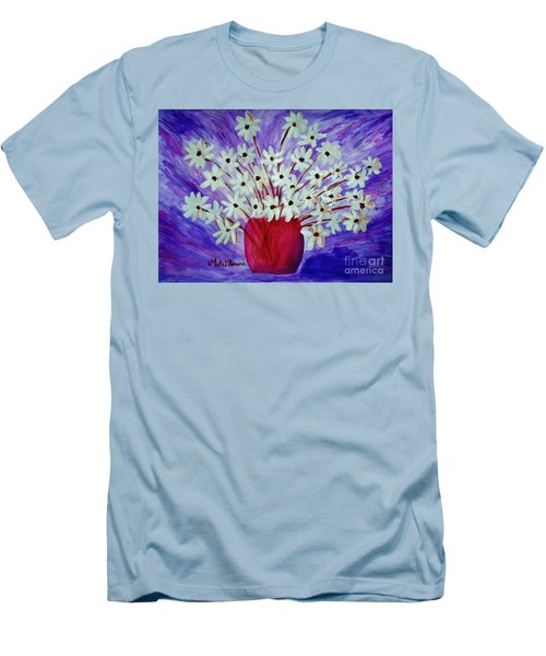 Men's T-Shirt (Slim Fit) featuring the painting My Daisies Blue Version by Ramona Matei