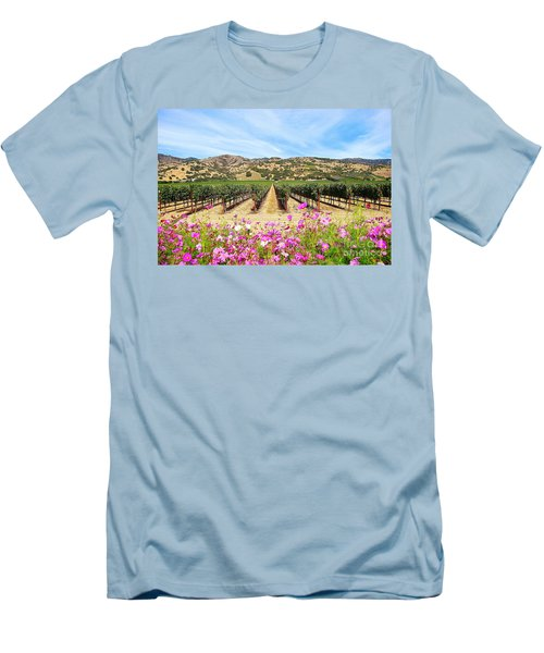 Napa Valley Vineyard With Cosmos Men's T-Shirt (Athletic Fit)