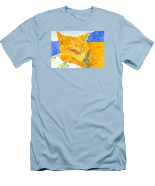 Nappy Cat Men's T-Shirt (Slim Fit) by Anne Marie Brown