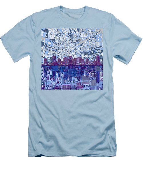 Nashville Skyline Abstract 8 Men's T-Shirt (Slim Fit) by Bekim Art