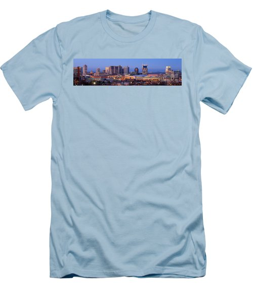 Nashville Skyline At Dusk Panorama Color Men's T-Shirt (Slim Fit) by Jon Holiday