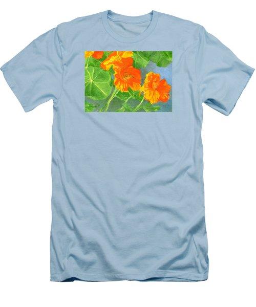 Nasturtiums Flowers Garden Small Oil Painting Men's T-Shirt (Slim Fit) by Elizabeth Sawyer