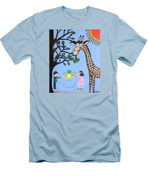 Men's T-Shirt (Slim Fit) featuring the painting Nature's Playground by Kathleen Sartoris