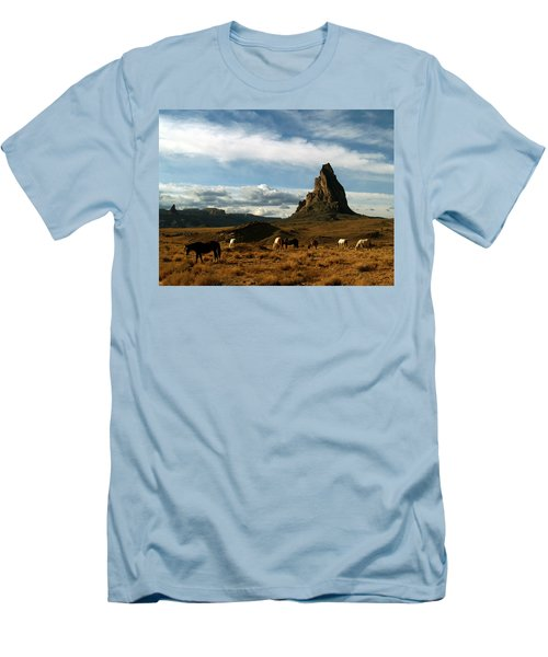 Navajo Horses At El Capitan Men's T-Shirt (Slim Fit) by Jeff Brunton