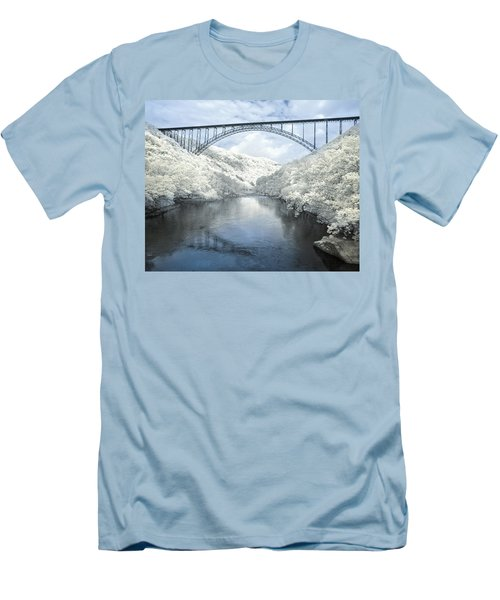 New River Gorge Bridge In Infrared Men's T-Shirt (Slim Fit)