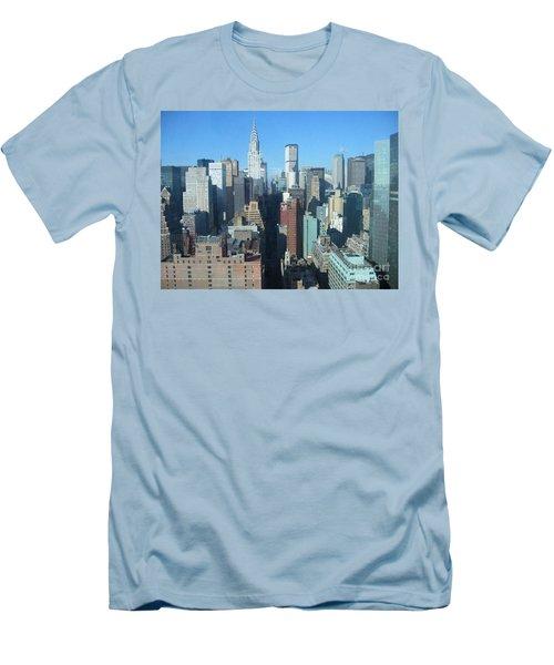 Men's T-Shirt (Slim Fit) featuring the photograph New York City Skyline by Dora Sofia Caputo Photographic Art and Design