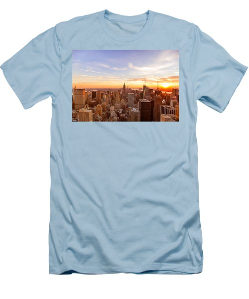 New York City - Sunset Skyline Men's T-Shirt (Slim Fit) by Vivienne Gucwa