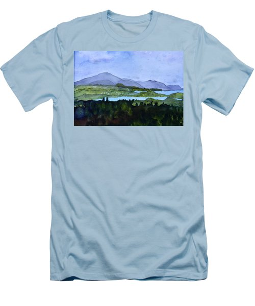 Men's T-Shirt (Slim Fit) featuring the painting Newport From Brownington Lookout by Donna Walsh