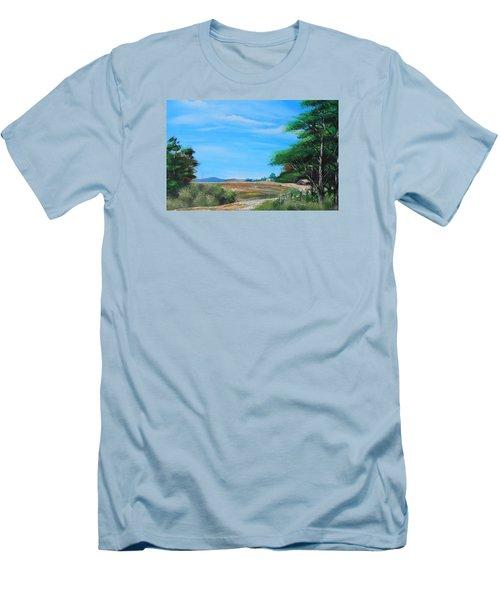 Nipa Hut In The Barrio Men's T-Shirt (Slim Fit) by Remegio Onia