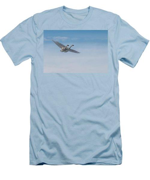 Trumpeter Swans Tandem Flight Men's T-Shirt (Slim Fit) by Patti Deters