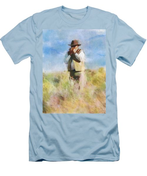 Men's T-Shirt (Slim Fit) featuring the painting No Useless Cares by Greg Collins
