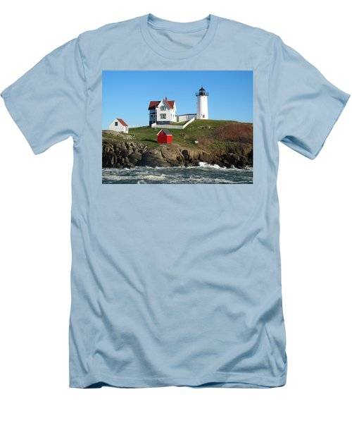 Men's T-Shirt (Slim Fit) featuring the photograph Nubble Lighthouse One by Barbara McDevitt