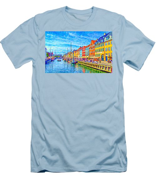 Nyhavn In Denmark Painting Men's T-Shirt (Athletic Fit)