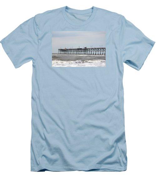 Oak Island Beach Pier Men's T-Shirt (Slim Fit)