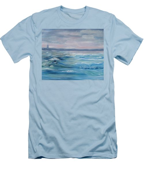 Men's T-Shirt (Slim Fit) featuring the painting Oceans Of Color by Diane Pape