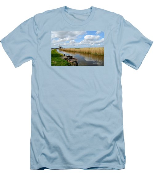 Old Boat In A Canal In Holland Men's T-Shirt (Slim Fit) by IPics Photography