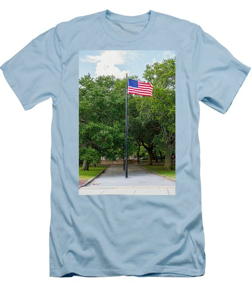 Men's T-Shirt (Slim Fit) featuring the photograph Old Glory High And Proud by Sennie Pierson
