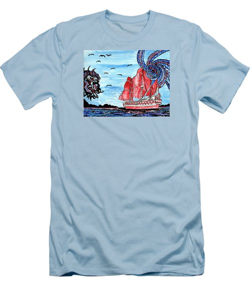 Old Man And The Sea Men's T-Shirt (Slim Fit) by Connie Valasco