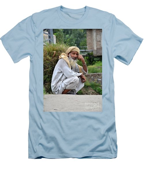 Old Man Carrying Fodder Swat Valley Kpk Pakistan Men's T-Shirt (Slim Fit) by Imran Ahmed