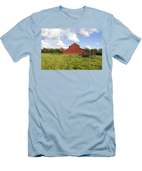 Men's T-Shirt (Slim Fit) featuring the photograph Old Red Barn by Mark Greenberg