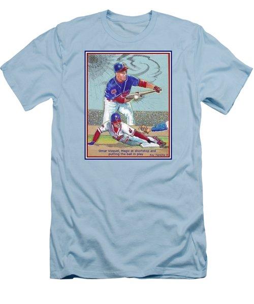Men's T-Shirt (Slim Fit) featuring the mixed media Omar Vizquel Shortstop Magic by Ray Tapajna