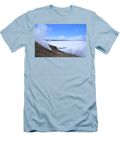 Men's T-Shirt (Slim Fit) featuring the photograph On The Edge Of Lake Yellowstone by Michele Myers