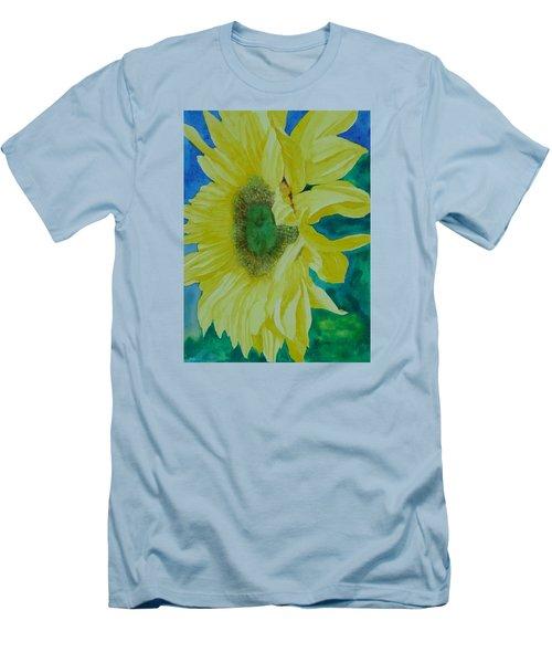 One Bright Sunflower Colorful Original Art Floral Flowers Artist K. Joann Russell Decor Art  Men's T-Shirt (Slim Fit) by Elizabeth Sawyer