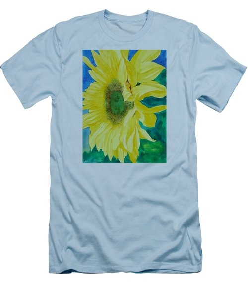 One Bright Sunflower Colorful Original Art Floral Flowers Artist K. Joann Russell Decor Art  Men's T-Shirt (Athletic Fit)