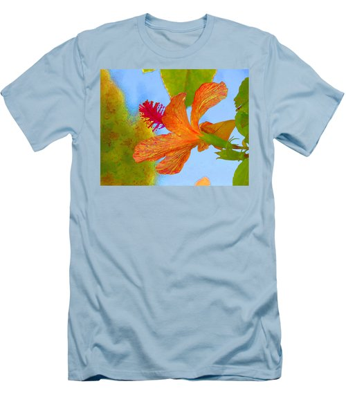 Orange Hibiscus  Men's T-Shirt (Athletic Fit)