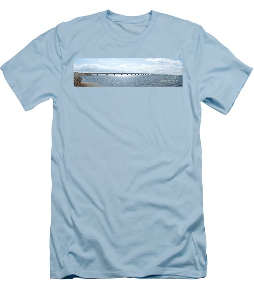 Oresundsbron Panorama 01 Men's T-Shirt (Slim Fit) by Antony McAulay