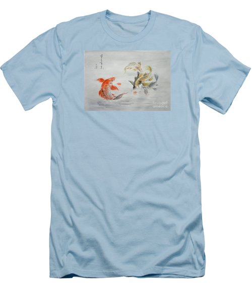 Original Animal  Oil Painting Art- Goldfish Men's T-Shirt (Athletic Fit)