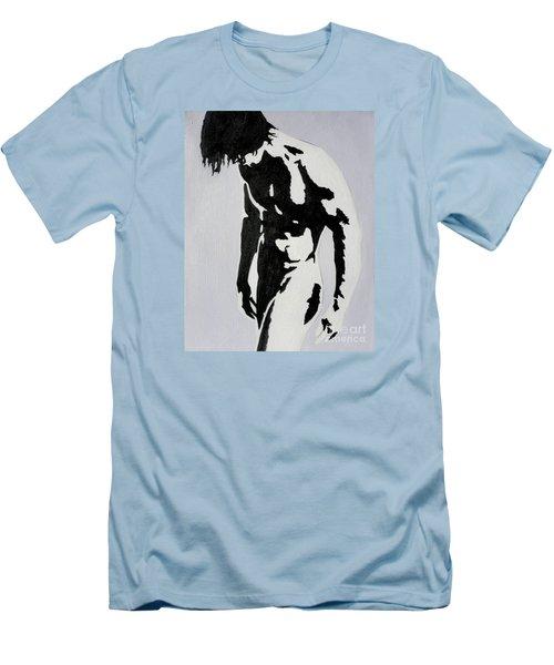 Original Black An White Acrylic Paint Man Gay Art -male Nude#16-2-4-17 Men's T-Shirt (Athletic Fit)