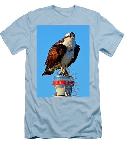 Osprey Close-up On Water Navigation Aid Men's T-Shirt (Slim Fit) by Jeff at JSJ Photography
