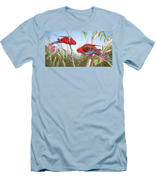 Our Beautiful Home - Crimson Rosellas Men's T-Shirt (Athletic Fit)