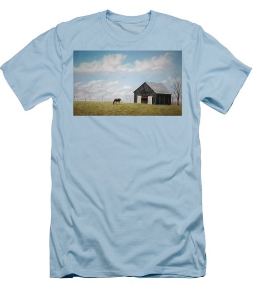 Men's T-Shirt (Slim Fit) featuring the pastel Out For Breakfast by Stacy C Bottoms