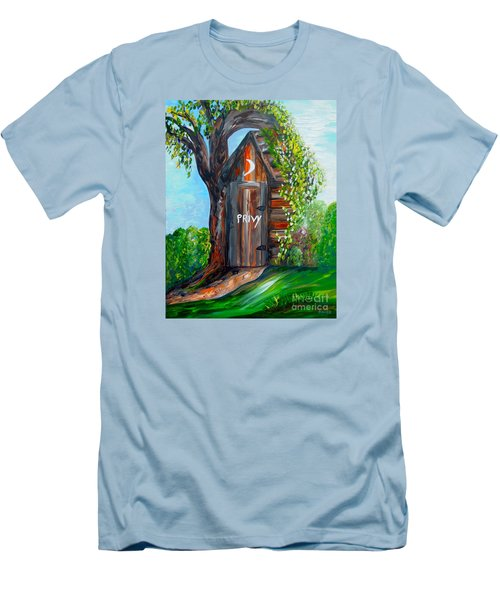 Men's T-Shirt (Slim Fit) featuring the painting Outhouse - Privy - The Old Out House by Eloise Schneider