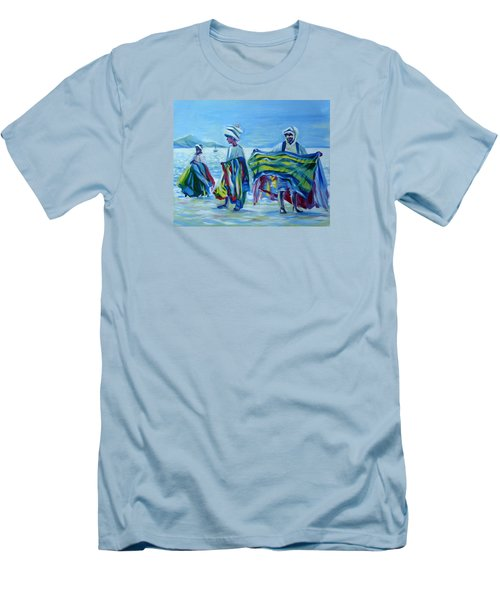 Men's T-Shirt (Slim Fit) featuring the painting Panama.beach Market by Anna  Duyunova
