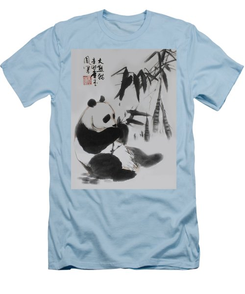 Men's T-Shirt (Slim Fit) featuring the photograph Panda And Bamboo by Yufeng Wang