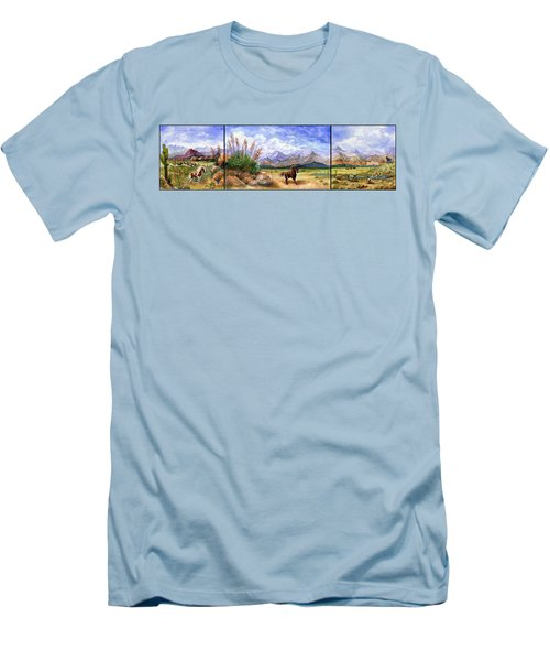 Panorama Triptych Don't Fence Me In  Men's T-Shirt (Slim Fit) by Marilyn Smith