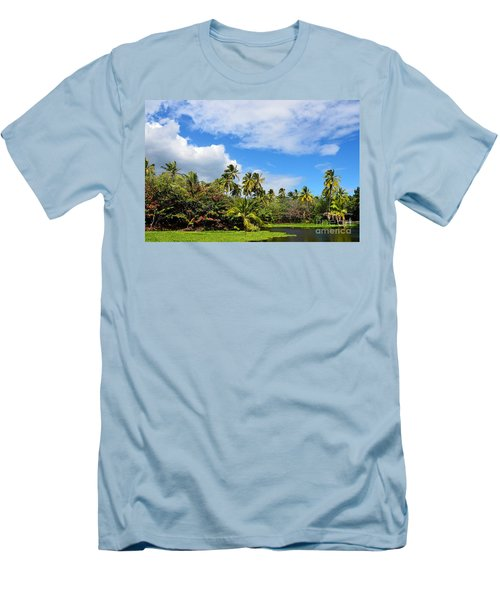 Men's T-Shirt (Slim Fit) featuring the photograph Paradise Lagoon by David Lawson