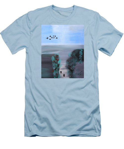 Men's T-Shirt (Slim Fit) featuring the painting Paradise by Lorna Maza