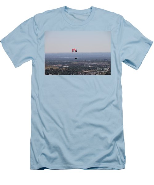 Men's T-Shirt (Slim Fit) featuring the photograph Paragliding Over Golden by Chris Thomas