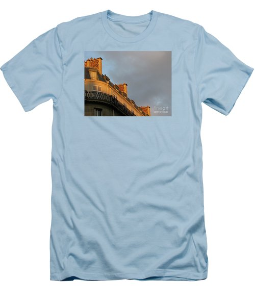 Men's T-Shirt (Slim Fit) featuring the photograph Paris At Sunset by Ann Horn