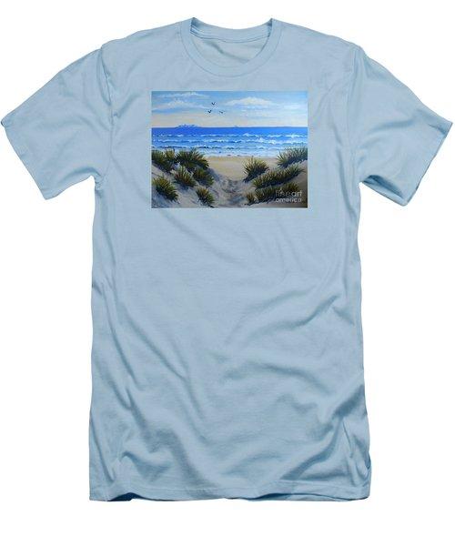 Path Through The Sand Dunes Men's T-Shirt (Slim Fit) by Pamela  Meredith