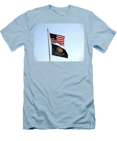 Men's T-Shirt (Slim Fit) featuring the photograph Patriotic Flags by Joseph Baril