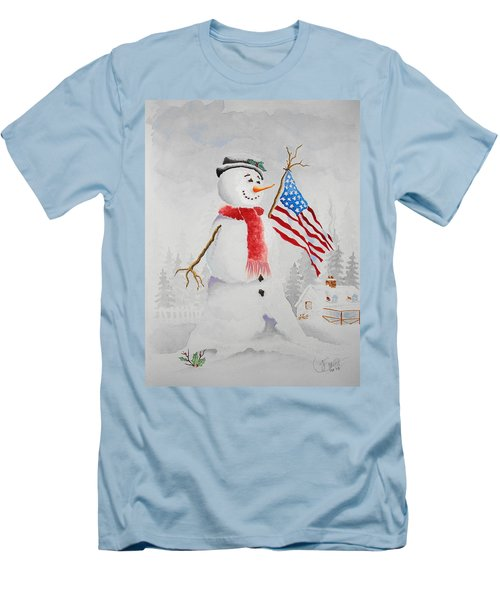 Patriotic Snowman Men's T-Shirt (Athletic Fit)