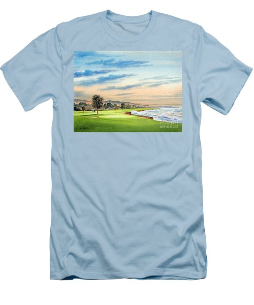Men's T-Shirt (Athletic Fit) featuring the painting Pebble Beach Golf Course 18th Hole by Bill Holkham